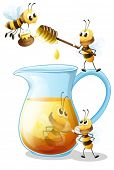 Illustration of bees and a jug of honey