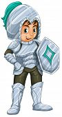 Illustration of a male knight in silver suit