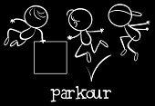 Illustration of stickmen doing parkour