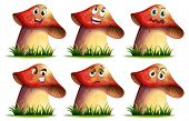 Illustration of mushroom with expressions