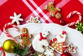 Homemade gingerbread cookies  and candies on a plate