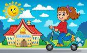 Girl on push scooter near school - eps10 vector illustration.