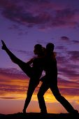Silhouette Couple Dancing He Lift Leg Up
