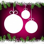 Christmas paper ball over magenta winter abstract background. Vector illustration with snowflakes.