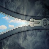 conceptual image with opening zipper and clear sky