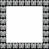 White With Black Designs Butterfly Pattern Frame