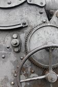 Cogwheel And Crank On Old  Machine