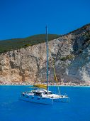 Sailing yacht in Porto Katsiki Lefkada Greece