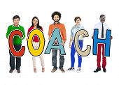 DIverse People Holding Text Coach
