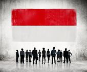 Silhouettes of Business People Looking at the Indonesian Flag