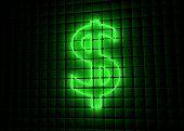 green neon symbol of dollar