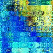 art abstract colorful graphic background; geometric border stylized pattern in blue, yellow and gree