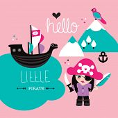 Fun little pirate girl kids illustration background cover design baby announcement in vector