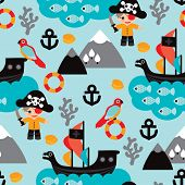 Seamless kids pirate adventure and parrot illustration background pattern in vector