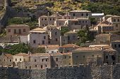 Traditional view of stone houses of Monemvasia island in Greece.