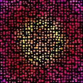 Colorful yellow and pink random circles vector background.