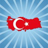 Turkey map flag on blue sunburst illustration