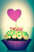 Muffin with heart toned photo