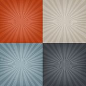 4 Sunburst Backgrounds Set, With Gradient Mesh, Vector Illustration