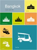 Landmarks of Bangkok. Set of color icons in Metro style. Raster illustration.