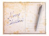 Old Paper Postcard - Merry Christmas