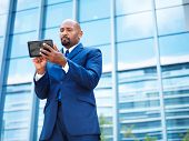 african american businnesman using tablet