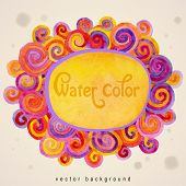 Vector artistic watercolor background with varicolored curls and place for text. Decoration design element. Square banner. Hand drawn design element.