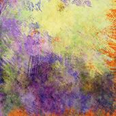 art abstract colorful acrylic and pencil background in yellow and violet  colors