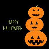 Three Funny Pumpkins. Halloween Card.