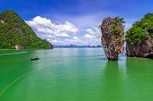 PHANG NGA BAY, THAILAND - 8 NOV 2012: Ko Tapu rock in Phang Nga National Park, Thailand. This place