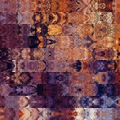 art abstract colorful graphic background; geometric border stylized pattern in viole and gold colors