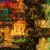 art abstract acrylic and pencil background in red, yellow, brown, green and black colors