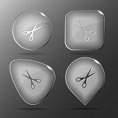 Scissors. Glass buttons. Raster illustration.