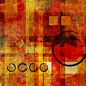 art abstract geometric textured colorful background with square in red, orange and gold colors