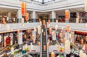ASHKELON, ISRAEL - JULY 16, 2014: Interior view of Hutzot shopping mall - owned by Aspen Group, offe