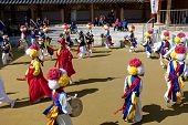ANDONG-SI KOREA OCTORBER 26: People are performing folk dance at Hahoe Village on octorber 26 2013,