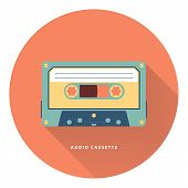 Audio cassette icon. Flat vector illustration.
