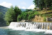 River Cascade Near Jajce Waterfall