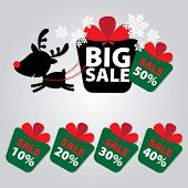Big Sale New Year And Christmas Reindeer Sticker Tags With Sale 10 - 50 Percent Text On Colorful Gif