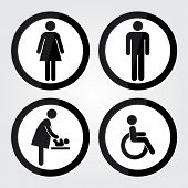 pic of toilet  - Black Circle Toilet Sign With Black Circle Border - JPG
