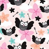 Seamless owls cute arrow and flower illustration kids background pattern in vector