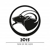 Chinese symbol vector goat 2015 year on white background