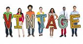 Multiethnic Group of People Holding Letter Vintage