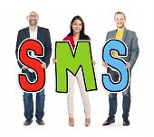 Multiethnic Group of People Holding Letter SMS