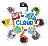 Group of Diverse People Discussing About Cloud Network