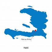 Detailed vector map of Haiti and capital city Port-au-Prince