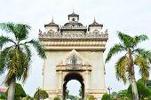 Patuxai Arch Monument In Vientiane, The Capital Of Laos