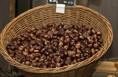Chestnuts In A Basket On A Farmer's Market