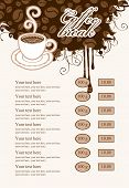 Menu price list with coffee
