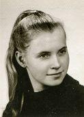 LODZ, POLAND, CIRCA 1969 - Vintage photo of young girl
